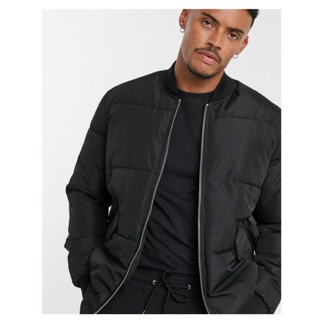 Bershka padded bomber jacket in black
