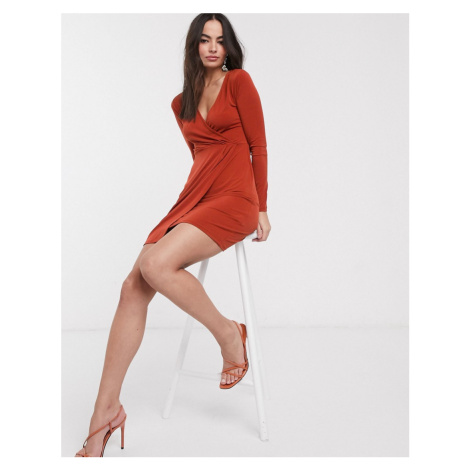 French Connection slinky wrap long sleeved dress-Red