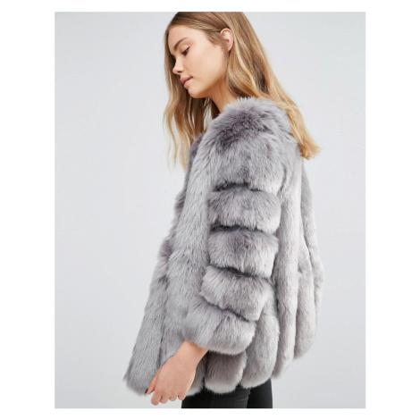 Jayley Luxurious Stripe Faux Fur Jacket - Grey