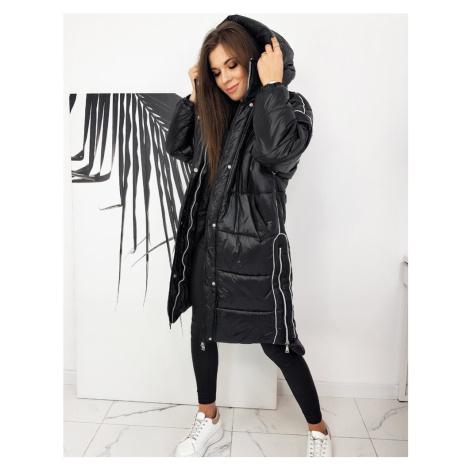 Oversize bunda dlouhá černý prošívaný kabát na zip s kapucí