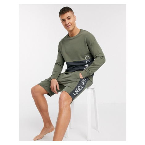 Calvin Klein Pieced lounge sweatshirt in khaki SUIT 5 co-ord-Green