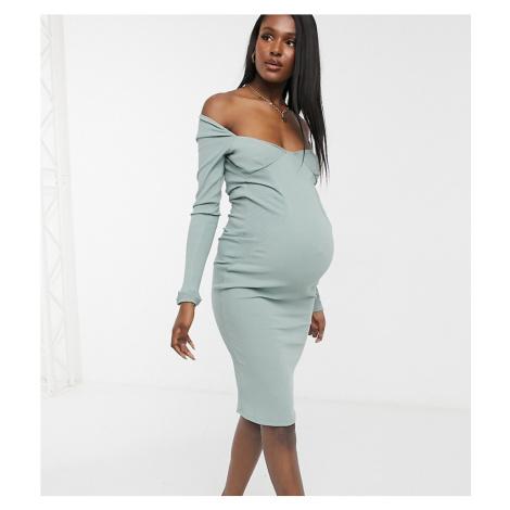 ASOS DESIGN Maternity off shoulder rib panelled long sleeve midi dress in sage-Purple