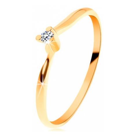 Blýskavý prsten ze žlutého 14K zlata - čirý broušený diamant, tenká ramena Šperky eshop