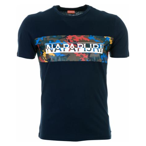 Pánské modré tričko Napapijri s maskáčovým pruhem