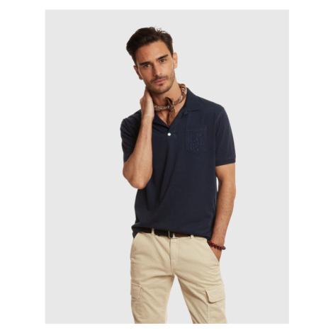 Polokošile La Martina Man Polo S/S Fancy Jersey - Modrá