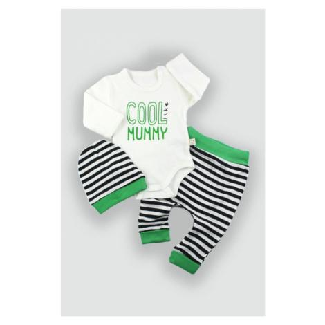 Dětské oblečení čepice body a kalhoty - zelená