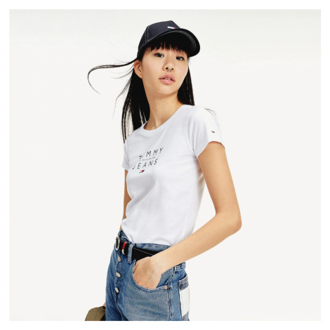 Tommy Jeans dámské bílé tričko Essential Tommy Hilfiger