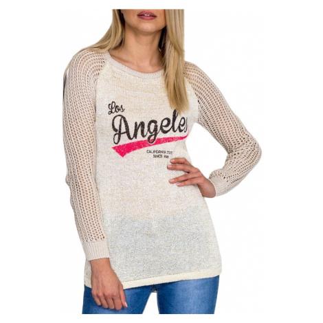 Dámský béžový svetr s potiskem BASIC