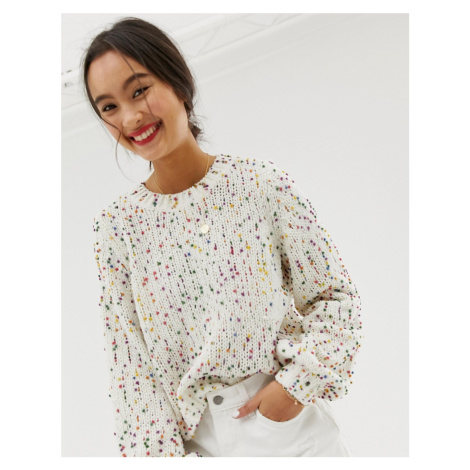 Only jumper with bright coloured spots-Cream