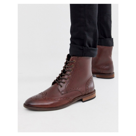 ASOS DESIGN brogue boots in brown leather with natural sole