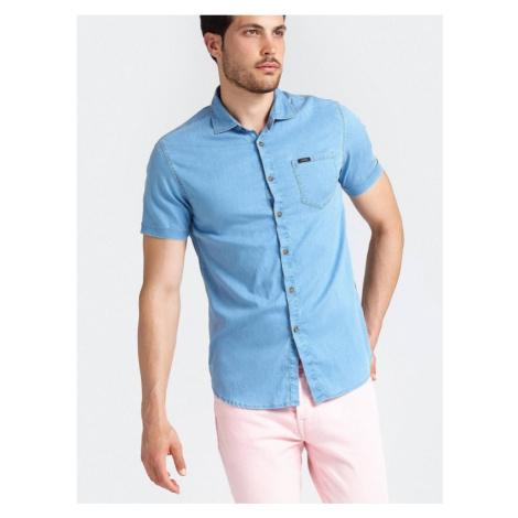 GUESS pánská světle modrá košile s krátkým rukávemmio