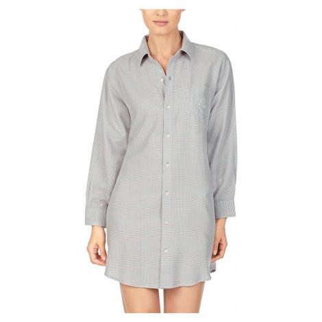 Ralph Lauren dlouhá košile šedá ILN31738 kostka - Šedá