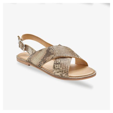 Blancheporte Ploché kožené sandály, hadí vzor béžová/černá