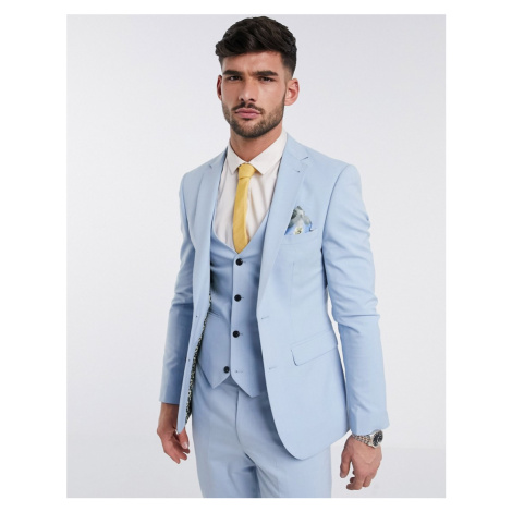 Harry Brown skinny fit plain suit jacket-Blue