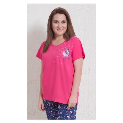 Dámské nadměrné pyžamo kapri Vienetta Secret Motýl | růžová