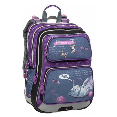 Dívčí školní batoh pro prvňáčky BAGMASTER GALAXY 9 A GRAY/VIOLET, kočka, kočička, koťátko, kočko