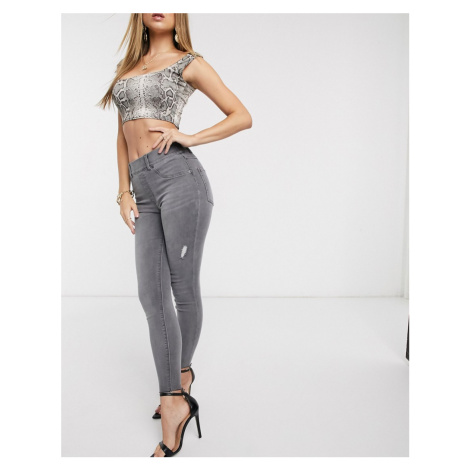 Spanx Slim Built In shaping panel high waist jean in grey