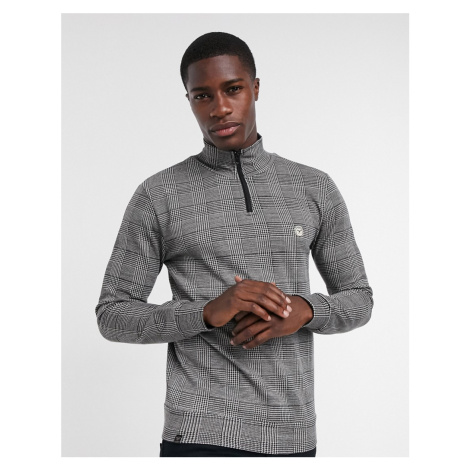 Le Breve co-ord prince of wales check sweat half zip in black