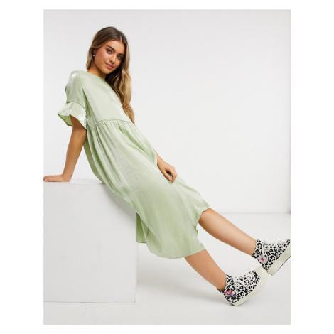 Lola May long smock dress in mint shimmer-Green