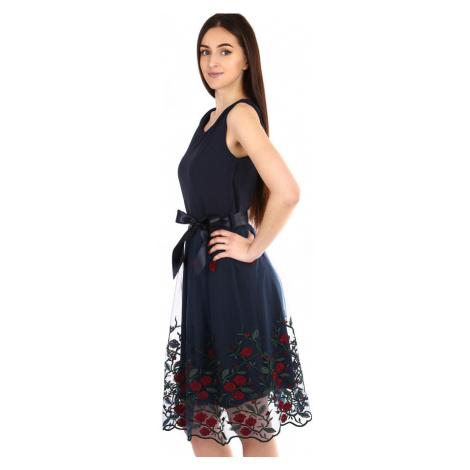 Společenské šaty s tylovou vyšívanou sukní
