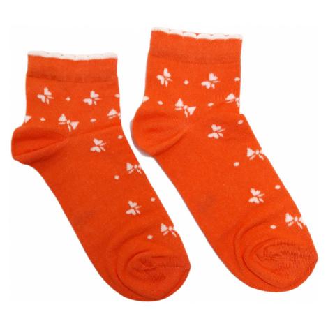 Turgadesign Oranžové kotníkové dámské ponožky Mašle