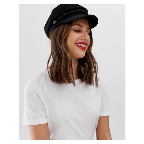 ASOS DESIGN high crown wool baker boy hat-Black