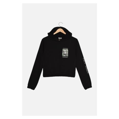 Trendyol Black Mona Lisa Licensed Printed Basic Hoodie Knitted Sweatshirt
