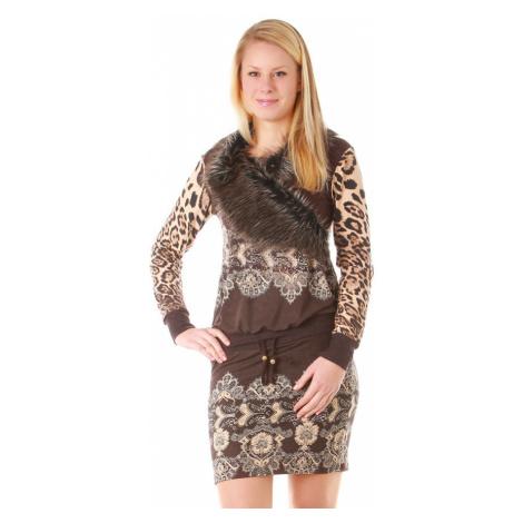 Úpletové zimní šaty s kožíškem a dlouhými rukávy