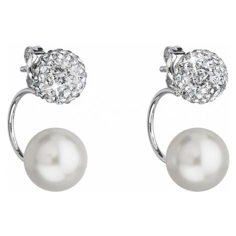 Stříbrné náušnice dvojité s krystaly Swarovski bílé kulaté 31178.1