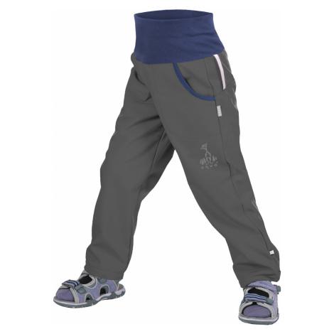Softshellové kalhoty bez zateplení UNUO Antracitové + reflexní obrázek Evžen