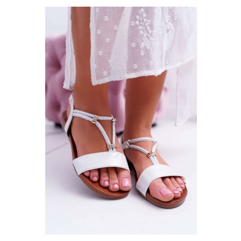 Women's Sandals Flat With Zircons On Belt Silver Madeline Kesi