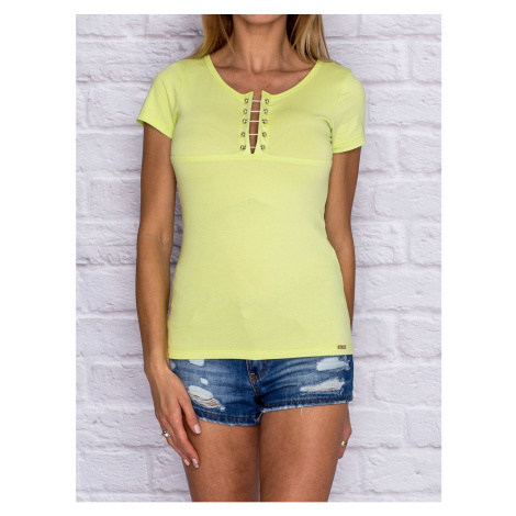 Lime t-shirt with a decorative insert at the neckline Fashionhunters