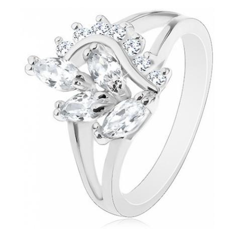 Prsten s lesklými rozdělenými rameny, čirá zirkonová větvička a vlnka Šperky eshop