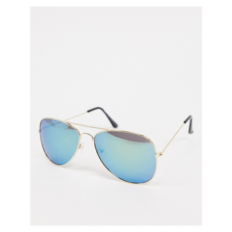 SVNX aviator sunglasses in gold with ombre green to blue lens