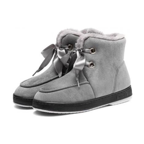 Zimní kotníkové boty s kožíškem zateplené boty s vázáním