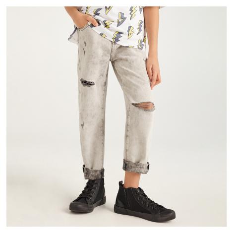 Reserved - Bavlněné džíny s ošoupáním - Světle šedá