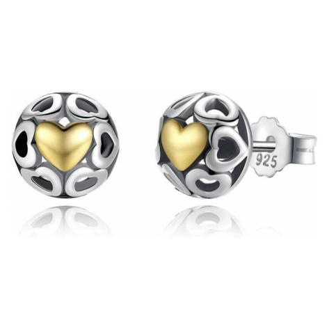 Linda's Jewelry Stříbrné náušnice Kupole Srdcí Ag 925/1000 IN164