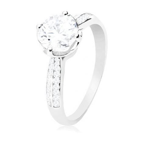 Zásnubní prsten, stříbro 925, čirý kulatý zirkon v dekorativním kotlíku Šperky eshop