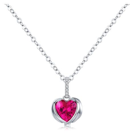 OLIVIE Stříbrný náhrdelník ANDĚLSKÉ SRDCE 3371