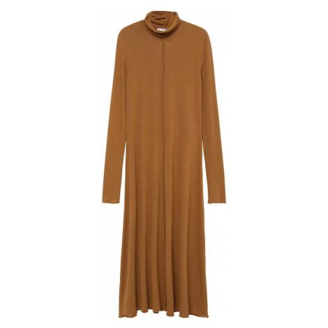 MANGO Úpletové šaty 'Almi' hnědá