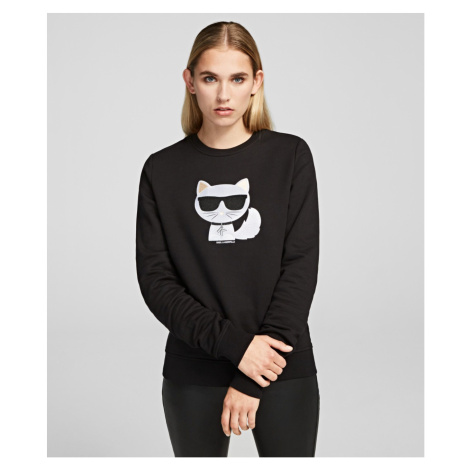 Mikina Karl Lagerfeld Ikonik Choupette Sweatshirt - Černá
