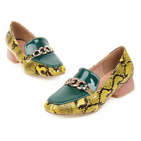 Loafers Vzorované mokasíny na hranatém podpatku vzor hadí kůže