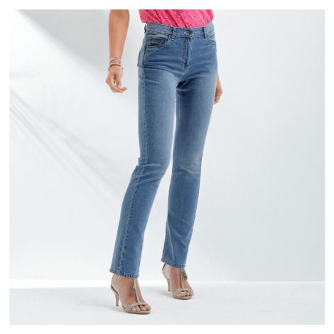 Blancheporte Rovné džíny s push-up efektem, pro vyšší postavu sepraná modrá