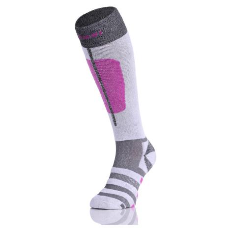 Nessi Lyžařské ponožky SN2 - Šedá+růžová