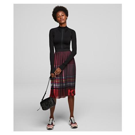 Sukně Karl Lagerfeld Stripe Print Pleated Skirt - Černá