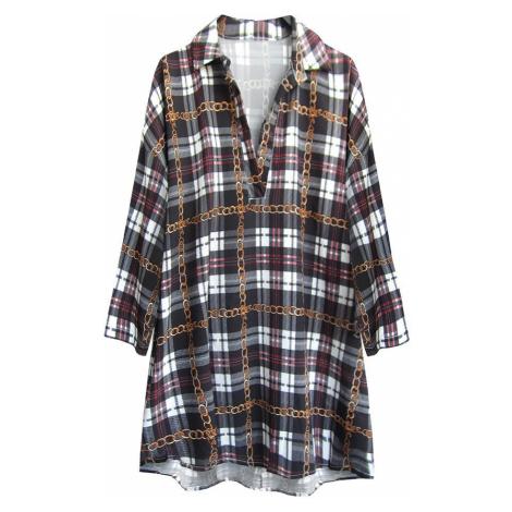 Černá károvaná oversize košile (302ART)