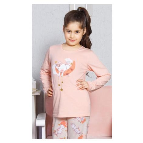 Dětské pyžamo dlouhé Králík velký, 15 - 16, světle meruňková