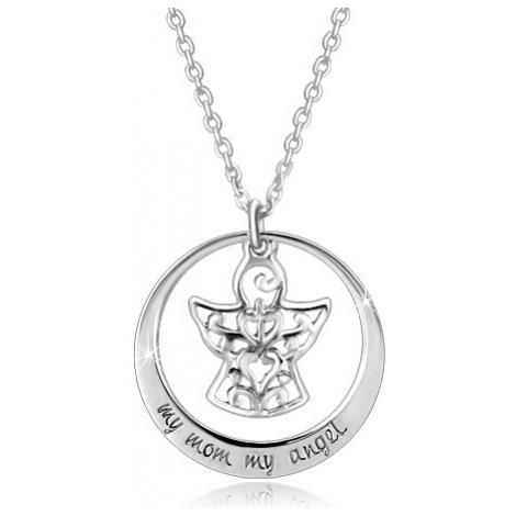 Stříbrný 925 náhrdelník - kontura kruhu, andílek s ornamenty, nápis Šperky eshop