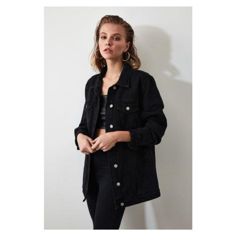 Trendyol Black Long Basic Denim Jacket