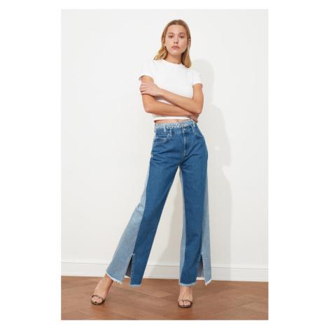 Trendyol Blue Color BlockEd Trotter Sniped High Waist Wide Leg Jeans